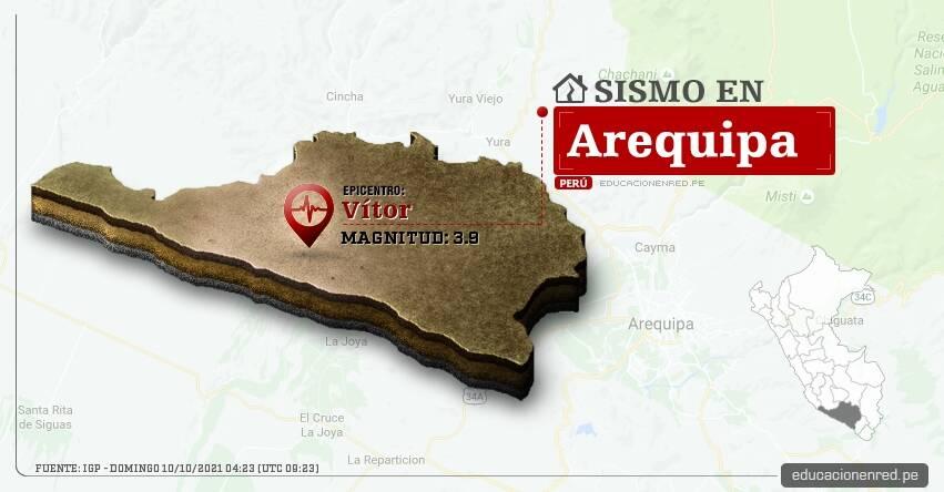 Temblor en Arequipa de Magnitud 3.9 (Hoy Domingo 10 Octubre 2021) Sismo - Epicentro - Vítor - IGP - www.igp.gob.pe