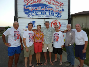 Photo: Day 20 Casper WY At the home of Jim Hirz, third from left, Sandy Rupp, who together with Jim, met us 20 miles outside Casper and road with us to his home.  Sandy, inspired by our effort and cause, generously paid for 2 rooms for us to stay in when we get to Lusk WY.