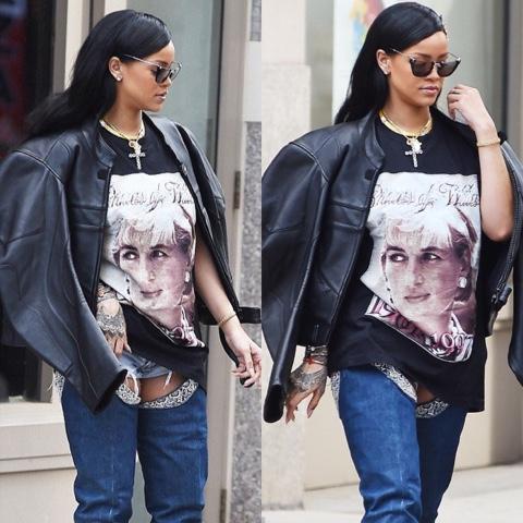 Rihanna in Vintage Princess Diana T-Shirt, Vetements Moto Jacket