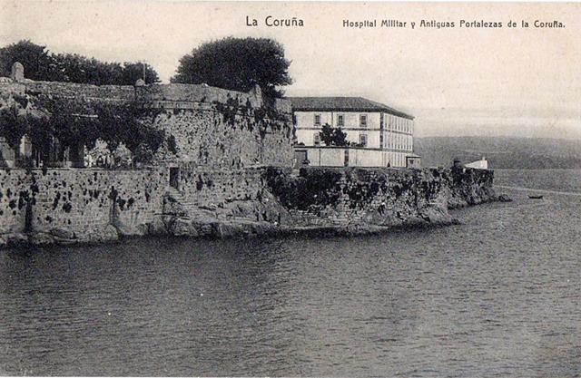Hospital Militar, actual Abente y Lago, y murallas.