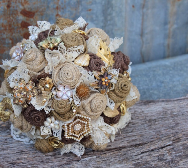 burlap and lace brooch bouquet