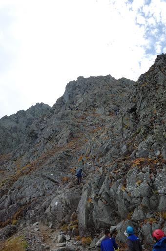 ダイキレットの核心部北穂高岳の崖