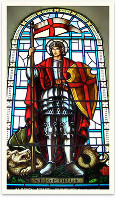 St George. Stained Glass Window at St Georges Cathedral in Canada