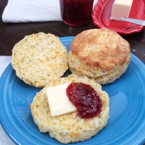 biscuits with butter and jam