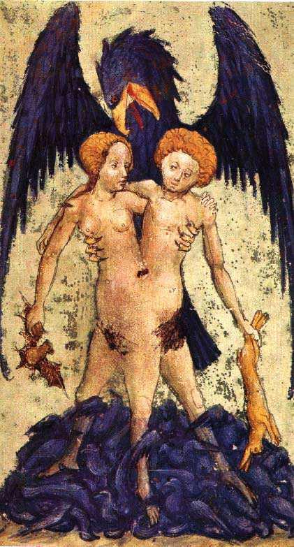 Aurora Consurgens Manuscript Fig9 Hermaphrodite With Eagle, Hermetic Emblems From Manuscripts 1