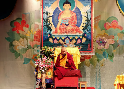 Lama Zopa Rinpoche offering teachings in Ulaanbaatar, Mongolia, September 2, 2013. Photo by Ven. Roger Kunsang.