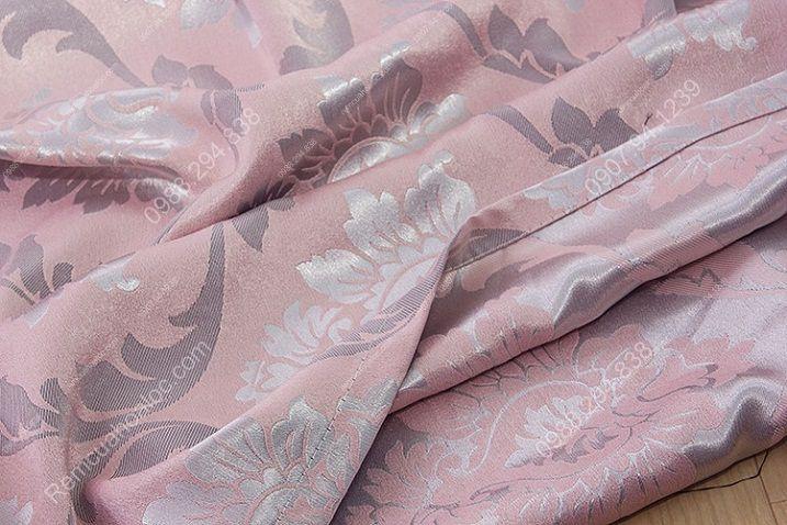 Rèm cửa giá rẻ hcm họa tiết mờ hồng 16