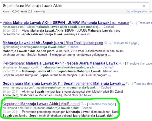 Keyword 'Keputusan Maharaja Lawak Akhir' tersenarai didalam carian Google - tip blogging terbaik