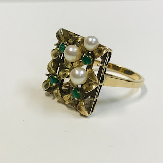 14K Gold, Pearl and Green Stone Ring