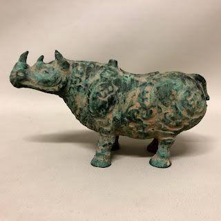 Antiqued Bronze Rhino Replica Figure