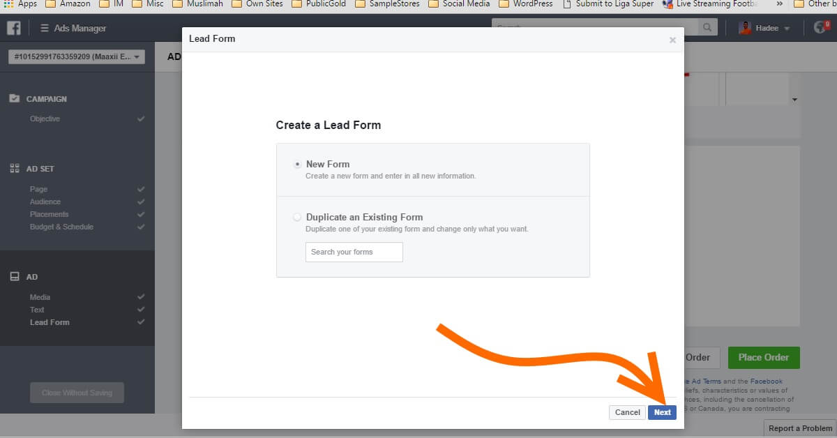Facebook Ads Ad Lead Form New