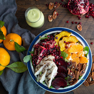 Winter Harvest Salad with Avocado Citrus Dressing.