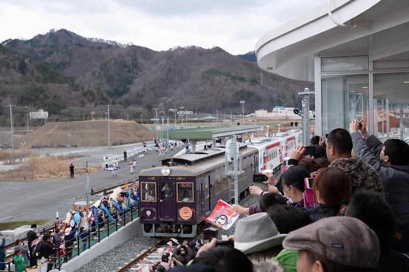 190323 記念列車発車の大槌駅