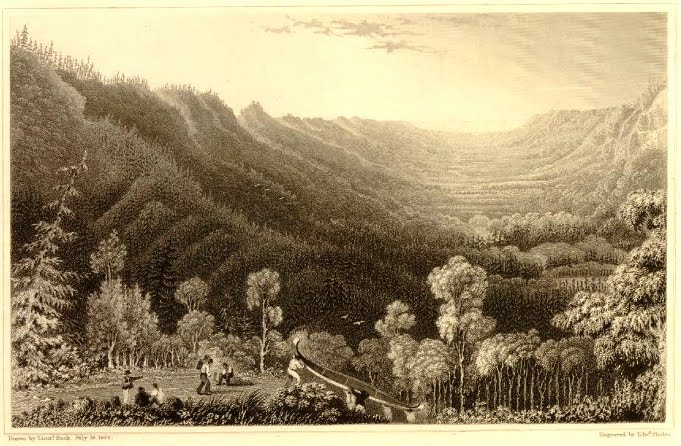 """""""Vale of the Clearwater River from the Methye Portage"""" 1828 etching based on the George Back 1825 watercolor"""