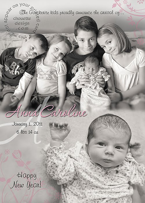 Photo Announcements Photo Cards by Chouette Design Group – New Years Birth Announcements