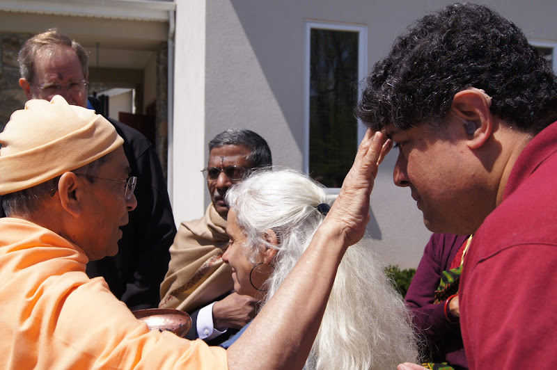 Day 2 Receiving Tilak from Swami Sarvadevananda