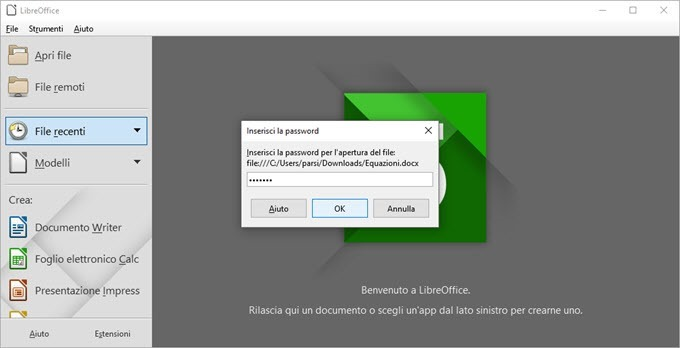 aprire file criptati libre office