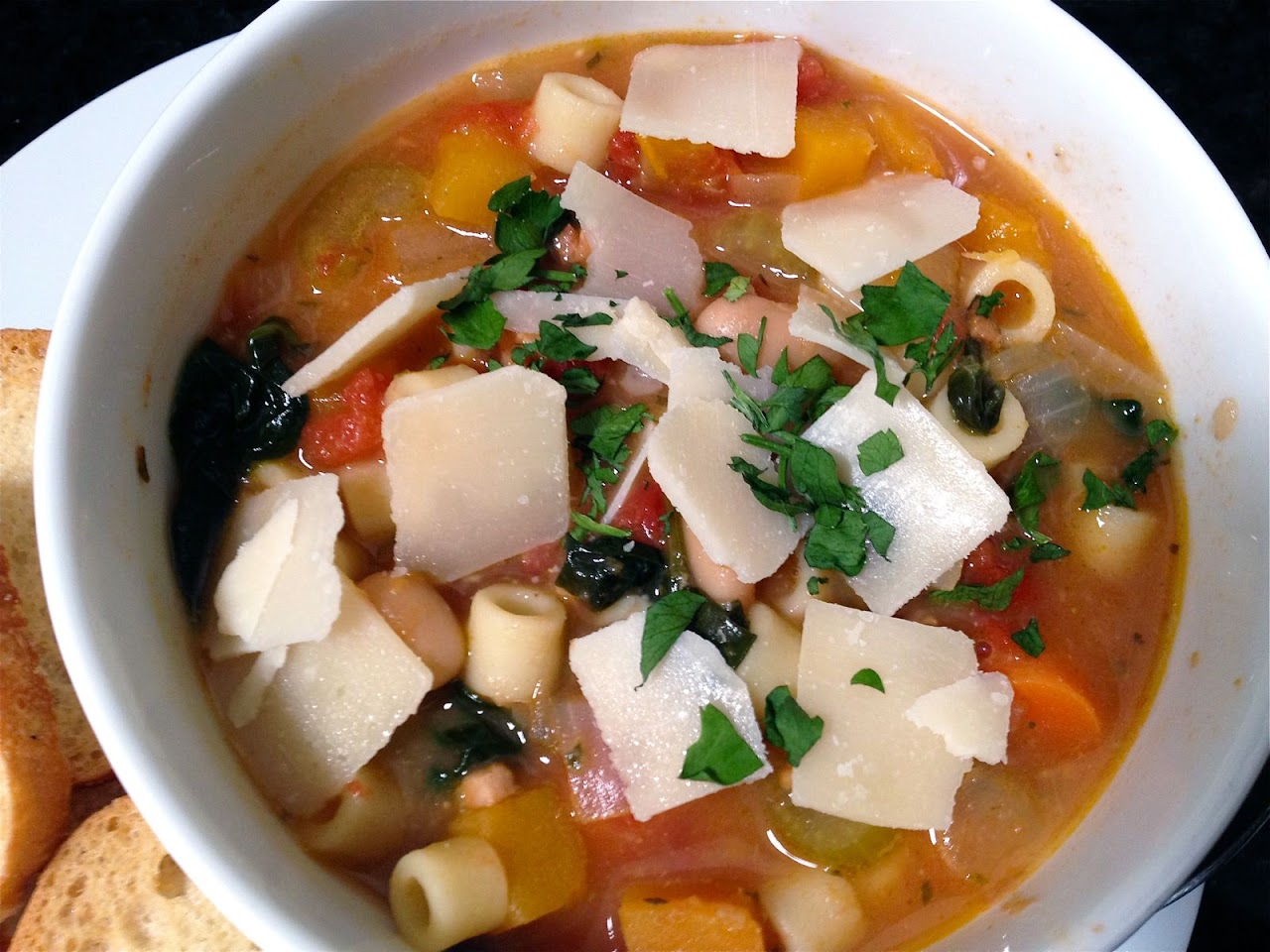 Ina's Winter Minestrone with Garlic Bruschetta | Onions and ...