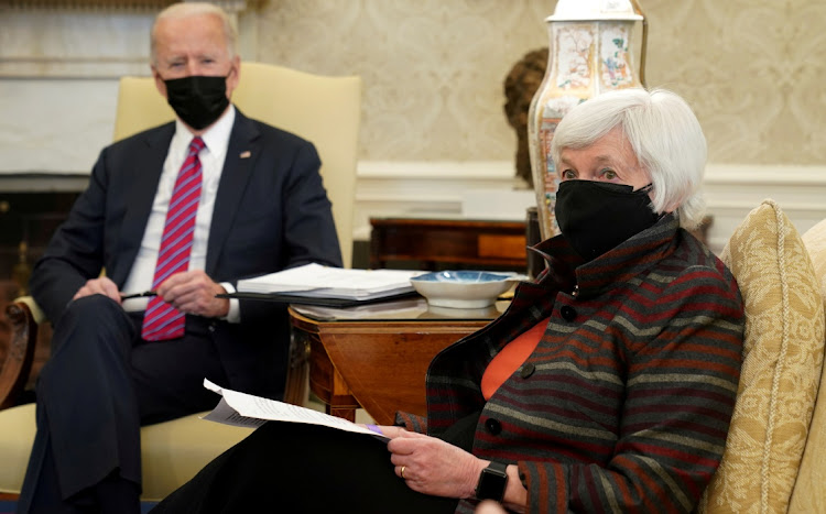 US President Joe Biden with US treasury secretary Janet Yellen. Picture: REUTERS/KEVIN LAMARQUE