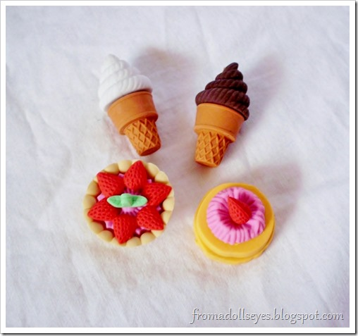 Puzzle erasers shaped like cake and ice cream.  Would be useful for dolls.