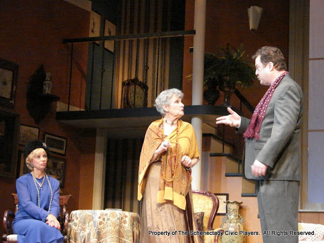 Patricia Hoffman, Joanne Westervelt and Richard Michael Roe in THE ROYAL FAMILY (R) - December 2011.  Property of The Schenectady Civic Players Theater Archive.