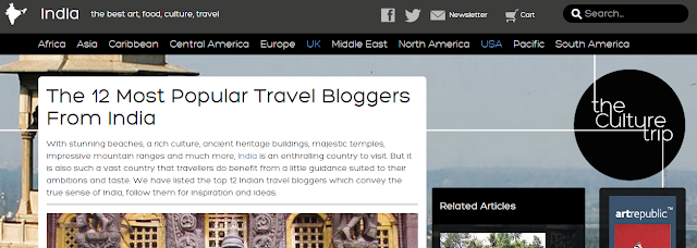 Featured as one of the top 12 popular Indian travel bloggers