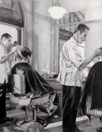 """""""Chelsea Barbers"""" Graphite by Barb Allen."""