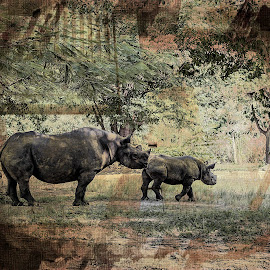 Endangered Rhinos textured by Sandy Friedkin - Digital Art Animals ( mother, calf, rhinos,  )