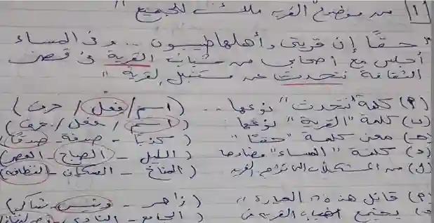 حل نماذج الوزارة الاسترشادية لغة عربية للصف الرابع الابتدائي