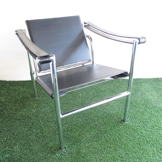 Modern Leather and Chrome Armchair