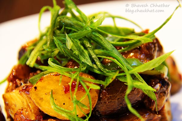 Close-up of Thai Sweet Chili Baby Potatoes at Frisco, Koregaon Park, Pune