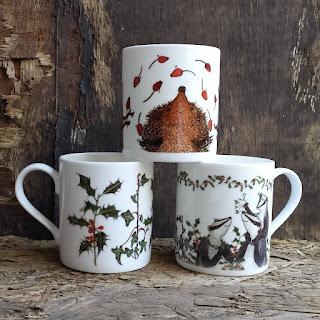 Christmas China mugs by Alice Draws the Line