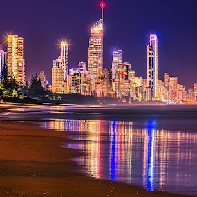 Sparkly by Alex Bogdan - City,  Street & Park  Skylines ( water, lights, skyline, buildings, star, reflections, slowshutter, night, long exposure, beach, sparkle, city )