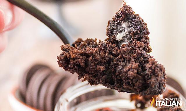 Spoon of oreo mug cake