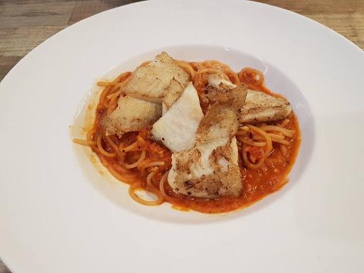 Tomato based fish pasta from Lenas at Bugis+