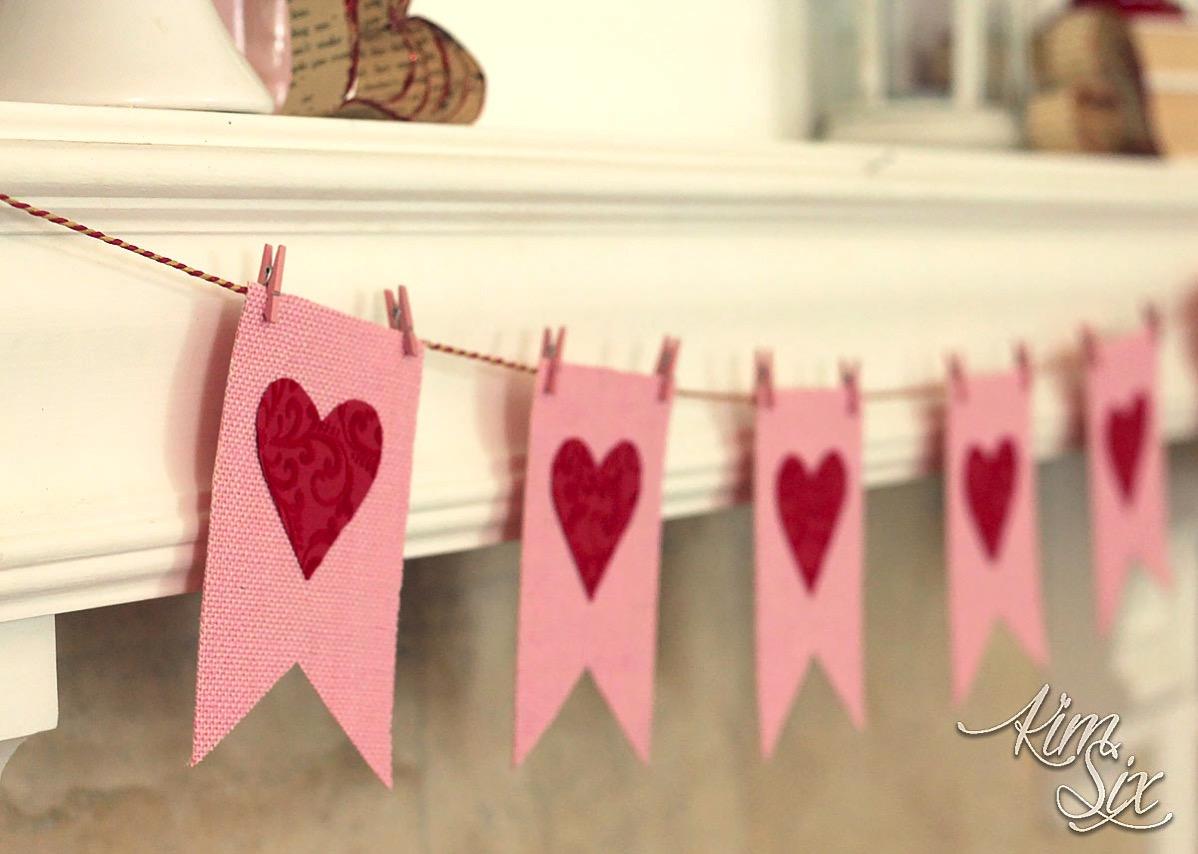 Pink burlap valentines day garland