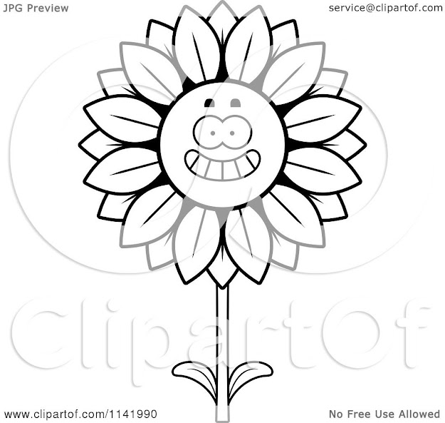 Cartoon Clipart Of Black And White Happy Smiling Sunflower Character   Vector Outlined Coloring Page By Cory Thoman