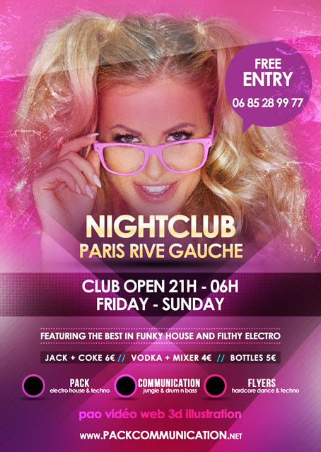 création flyer soirée thème Night Club Paris Rive Gauche