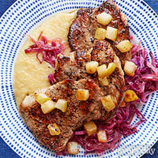 Seared Pork with Polenta, Braised Red Cabbage & Pears