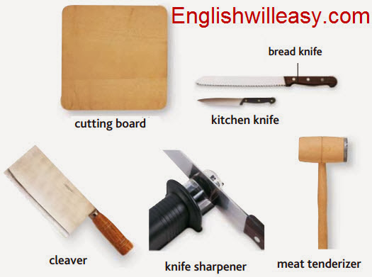 cutting board, bread knife, kitchen knife, cleaver, knife sharpener, meat tenderizer
