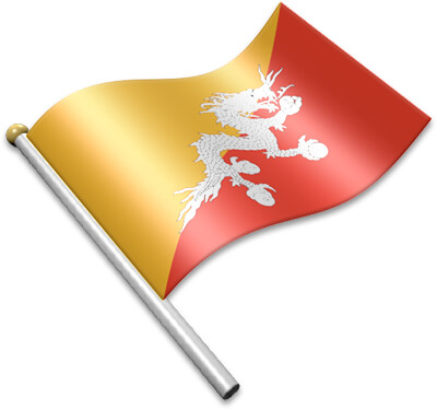 The Bhutanese flag on a flagpole clipart image