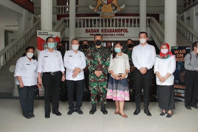 Bakesbangpol Provsu bersama Tokoh Agama FKUB menerima Kunjungan Pangkosek Hanudnas III Marsma Mohammad Nurdin