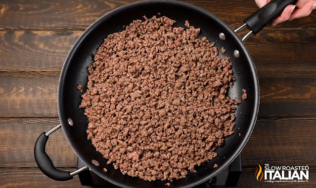 cooked ground beef in a skillet