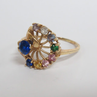 14K Gold and Multi-Stone Thumb Ring