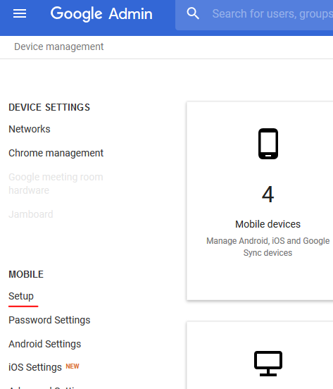 Device Management > Setup Sidebar Menu