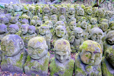 Otagi Nenbutsuji Temple features 1200 stone sculptures of rakan, the Buddha's disciples, all with different facial expressions and poses. Many are covered in moss and crumbling away, but this just adds to the atmosphere and the feeling of discovering a lost treasure