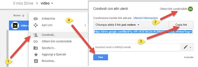 caricare file google drive