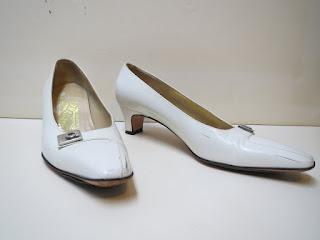 Salvatore Ferragamo White Kitten Heels