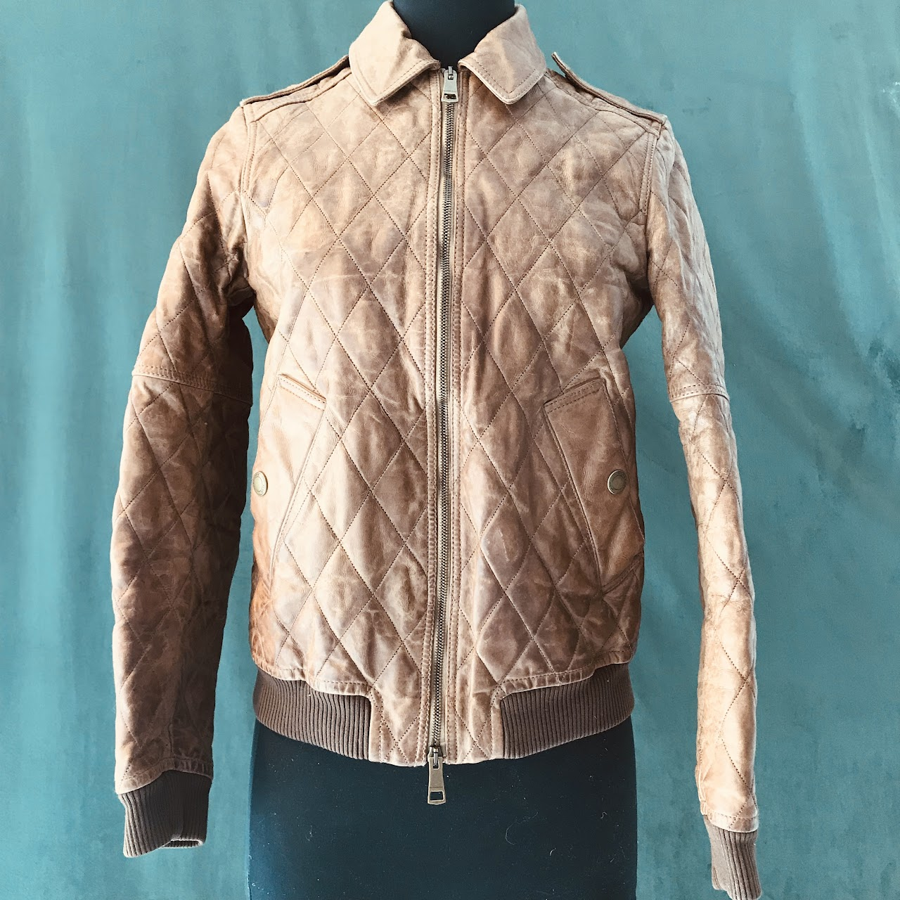 f624a3d8736 Burberry Brit Quilted Leather Bomber Jacket