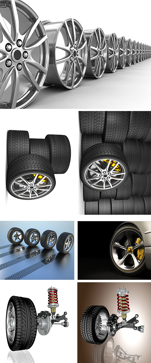 Stock Photo: Tires, automobile wheels